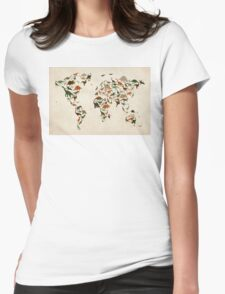 Dinosaur Map of the World Map Womens Fitted T-Shirt