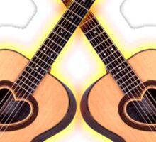 Double acoustic Guitar heart Sticker
