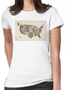 United States Typography Text Map Womens Fitted T-Shirt