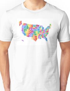 United States Typography Text Map Unisex T-Shirt