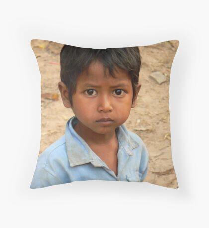 cambodian boy Throw Pillow