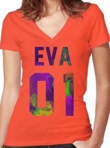 EVA-01 (Neon Genesis Evangelion) Women's Fitted V-Neck T-Shirt