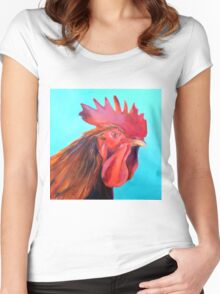Reagan the Rooster, from original oil painting by Madeleine Kelly Women's Fitted Scoop T-Shirt