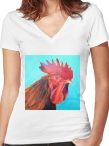 Reagan the Rooster, from original oil painting by Madeleine Kelly Women's Fitted V-Neck T-Shirt