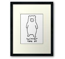 Winner take all - cuddly bear Framed Print