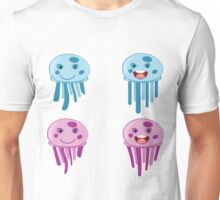 Cute cartoon blue and pink jellyfishes Unisex T-Shirt