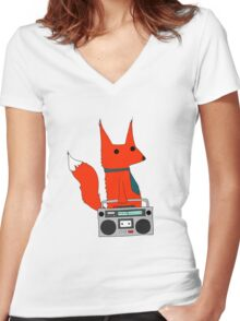 music fox Women's Fitted V-Neck T-Shirt