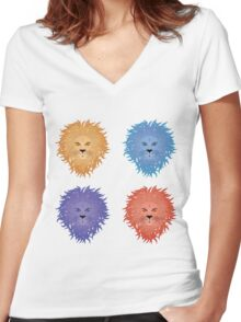 Lion face Women's Fitted V-Neck T-Shirt