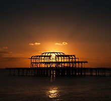West Pier Silhouette  by Matthew Hollinshead