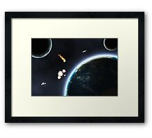 Asteroid falling on Earth Framed Print