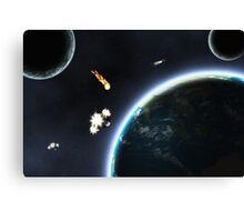 Asteroid falling on Earth Canvas Print