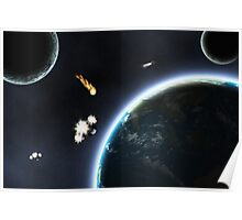 Asteroid falling on Earth Poster