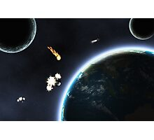 Asteroid falling on Earth Photographic Print