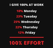 I Give 100% At Work 18% Monday 23% Tuesday 25% Wednesday 22% Thursday 12% Friday 100% Effort Unisex T-Shirt