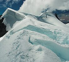 Mount French Crevasses, Mt Aspiring National Park, New Zealand by Hugh Chaffey-Millar