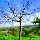 A digital painting of a Tree in Barda, Romania by Dennis Melling