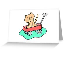 Cat In Wagon Greeting Card