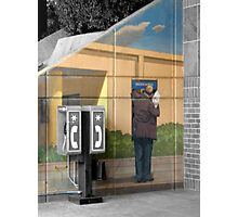 Grey Phone Booth Photographic Print
