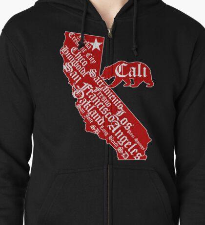 California State Bear (vintage distressed look) Zipped Hoodie