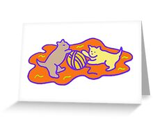 Cats Playing With Yarn Greeting Card