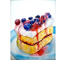 Delicious....Lucious Layer Cake with Berries and Whipped Cream Photographic Print
