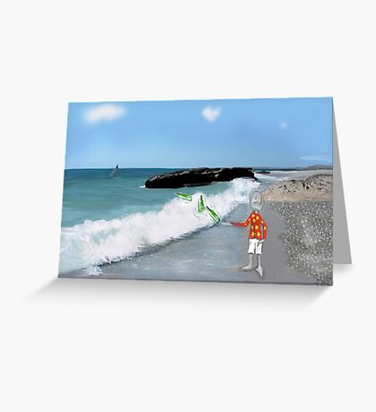 Corky's throwing a bottle to the sea Greeting Card