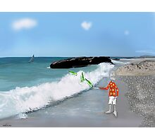 Corky's throwing a bottle to the sea Photographic Print