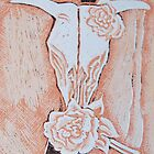 after Georgia O'Keeffe's Cow's Skull with Calico Roses  by Inese