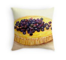 Delicious ..Lemon Curd and Blueberry Tart Throw Pillow