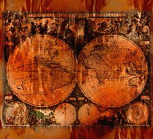 Grunge Vintage Old World Map by Val  Brackenridge