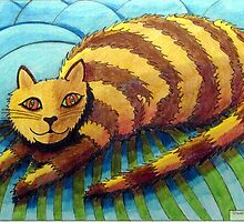 413 - STRIPEY CAT - DAVE EDWARDS - COLOURED PENCILS - 2014 by BLYTHART