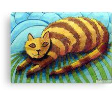 413 - STRIPEY CAT - DAVE EDWARDS - COLOURED PENCILS - 2014 Canvas Print