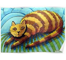 413 - STRIPEY CAT - DAVE EDWARDS - COLOURED PENCILS - 2014 Poster