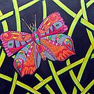 411 - FANTASY BUTTERFLY - DAVE EDWARDS MIXED MEDIA - 2014 by BLYTHART