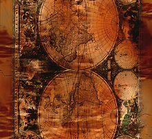 Grunge Vintage Old World Map by NaturePrints