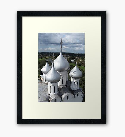 Church domes top view Framed Print