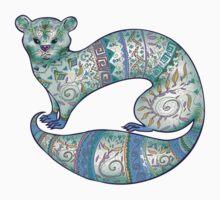 fuzzy ferret in greens Kids Tee