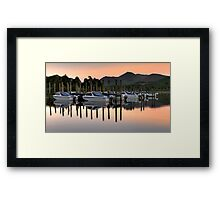 Derwent Water Boats at Sunset Framed Print