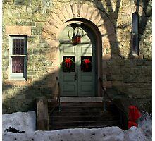 Church door decorated for Christmas. Photographic Print