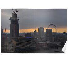 London Skyline in WInter - St.Paul's to London Eye Poster