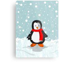 Penguin in the snow Metal Print