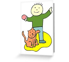 Boy Playing With Cat Greeting Card