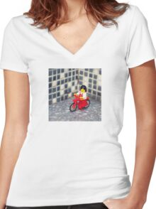 ::: { THE CYCLIST } ::: Women's Fitted V-Neck T-Shirt