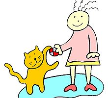 Girl Playing With Cat by kwg2200