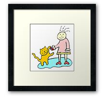 Girl Playing With Cat Framed Print