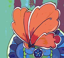 apricot butterfly by Janissa Walters