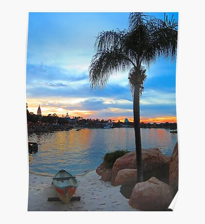 Sunset on the Lagoon at Epcot Poster