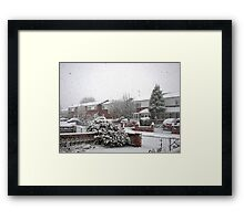 Falling Thick and Fast -  Winter Street Scene Framed Print