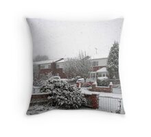 Falling Thick and Fast -  Winter Street Scene Throw Pillow
