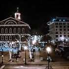 Boston Faneuil Hall at Night during Christmas by Elizabeth Thomas